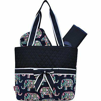 Elephant Print NGIL Quilted 3pc Diaper Bag