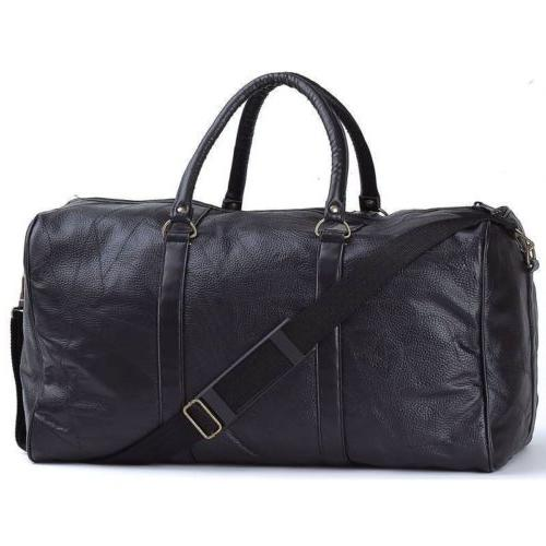 "EmbassyTM Black 21"" Hand-sewn Pebble Grain Genuine Leather D"