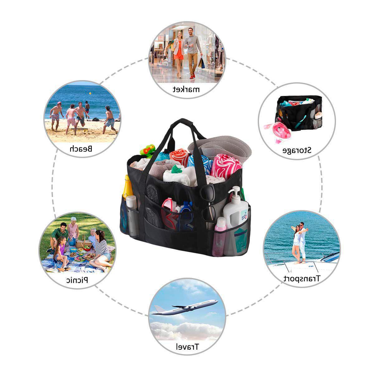 Extra and Beach Bag Pockets Zipper