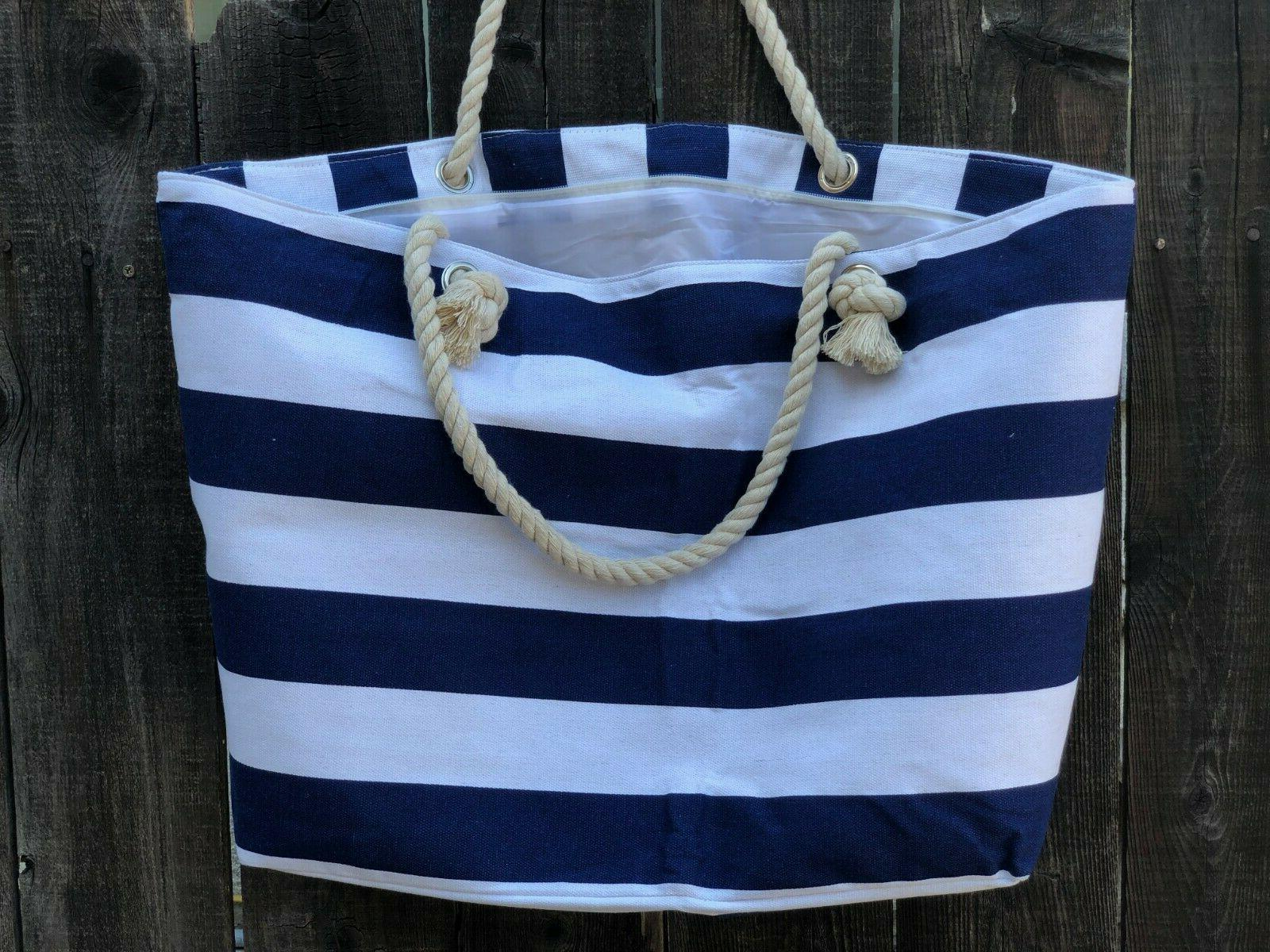 Extra Large Bag-Beach Bag-Travel Navi and White Stripes