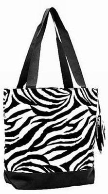 Ever Moda Fashion Tote Bag Zebra Print Black