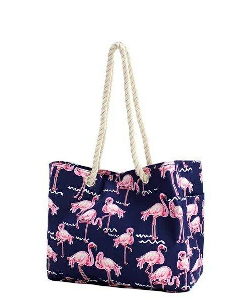 flamingo party rope handle beach tote tote