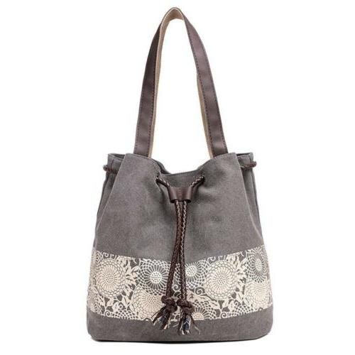 Sanxiner Floral Embroidery Canvas Tote Bag Casual Shoulder H