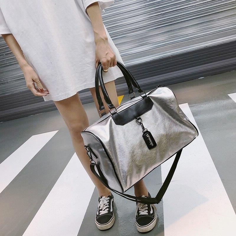 <font><b>Luggage</b></font> <font><b>Tote</b></font> Duffle Travel <font><b>Bag</b></font> Fashion Leather Handbag Silver Messenger Luxury Women <font><b>Bags</b></font>