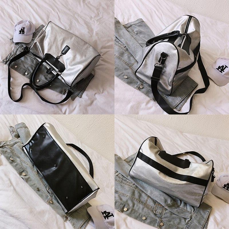 <font><b>Luggage</b></font> <font><b>Tote</b></font> <font><b>Bag</b></font> Brand Leather Handbag Silver Messenger Handbags Women