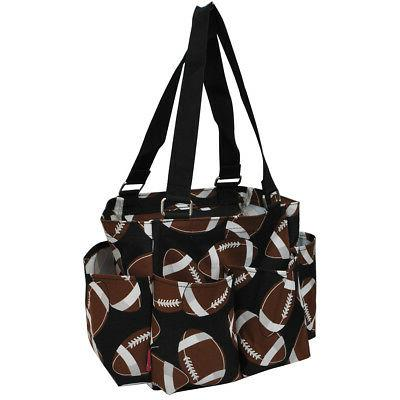 football small zippered caddy organizer tote bag