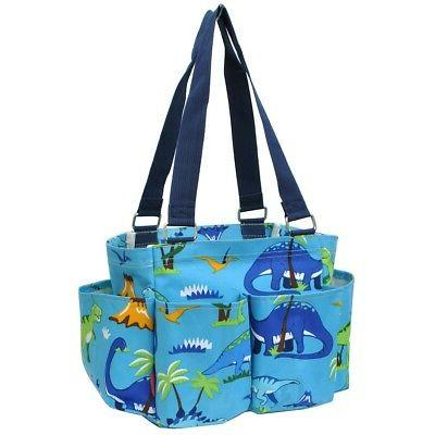 friendly dinosaur small zippered caddy organizer tote