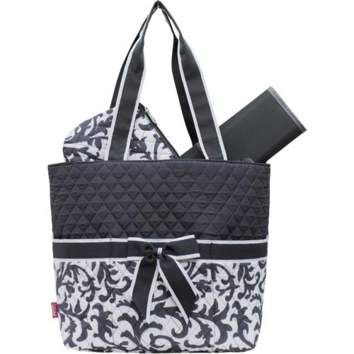 Grey Damask Print NGIL Quilted 3pc Diaper Bag