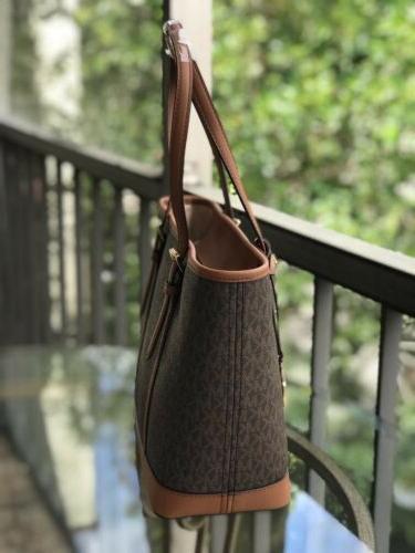 Michael Small PVC Leather Tote Bag Handbag Brown