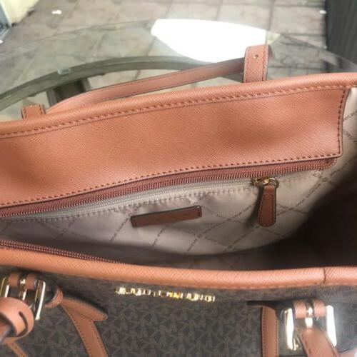 Michael Kors Women Small Leather Tote Bag Handbag Brown