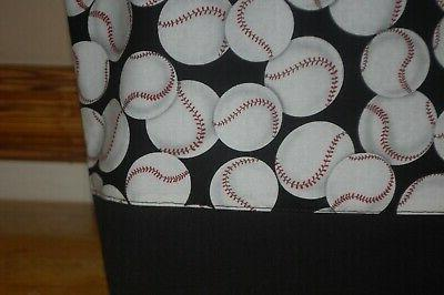 Handmade Base Ball Trimed in Black Handbag Purse Tote Bag