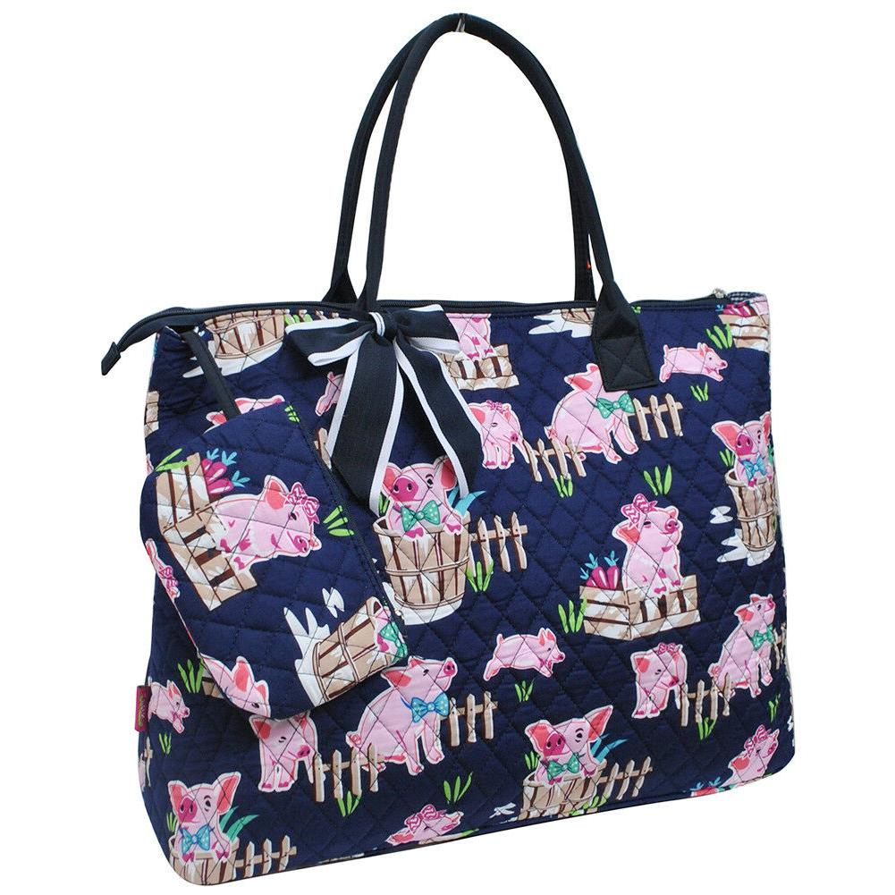 happy pig town quilted overnight tote bag
