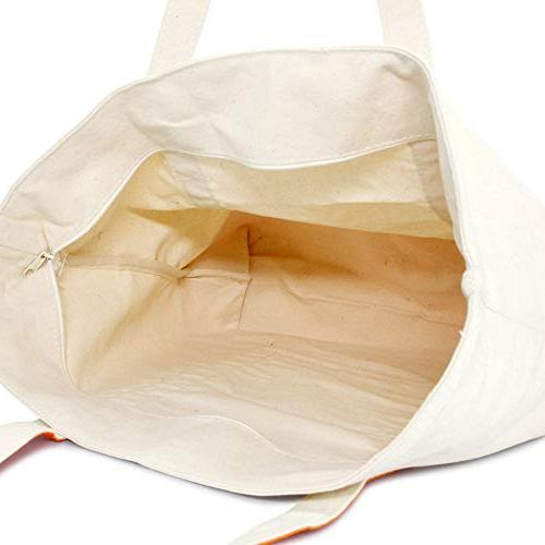 DALIX Canvas Zippered Shopping Grocery in