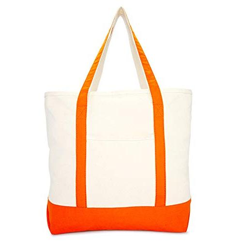 """DALIX 22"""" Canvas Zippered Shopping Tote Grocery Bag Orange"""