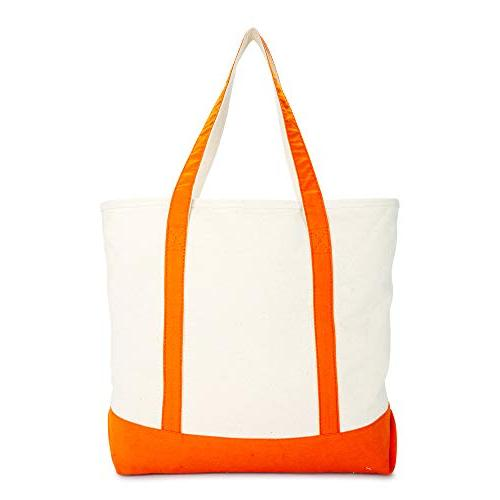 DALIX Canvas Zippered Tote Grocery Bag in