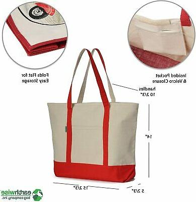 Heavy Duty Canvas Tote Bag for Shopping, ZIPPER Washable