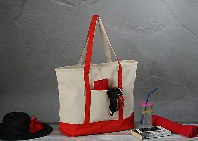 Heavy Cotton Tote Bag for Shopping, ZIPPER