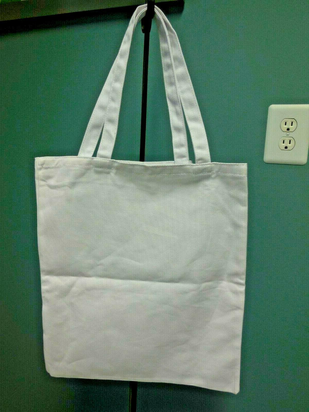 """Heavy Cotton White Tote Bag Create Crafts Fabric Paint 14"""" 16"""""""