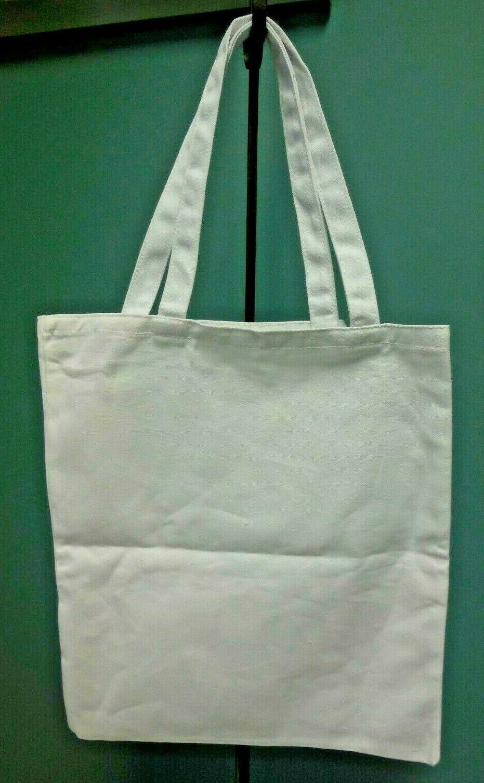 heavy duty cotton canvas white tote bag