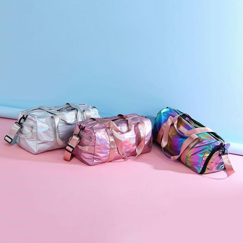 Holographic Sport with Shoes Compartment Women Shoulder Handbag <font><b>Luggage</b></font> Lightweight 517D