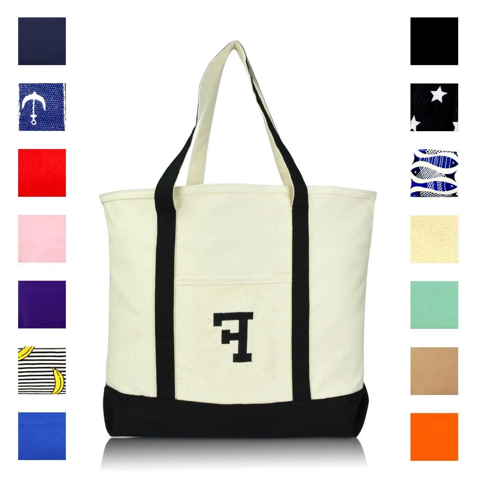 initial tote bag personalized monogram zippered top