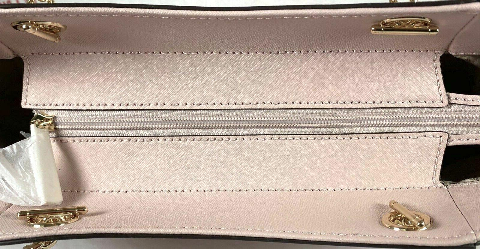 Michael Chain Pink Saffiano Leather Large Shoulder Tote Bag