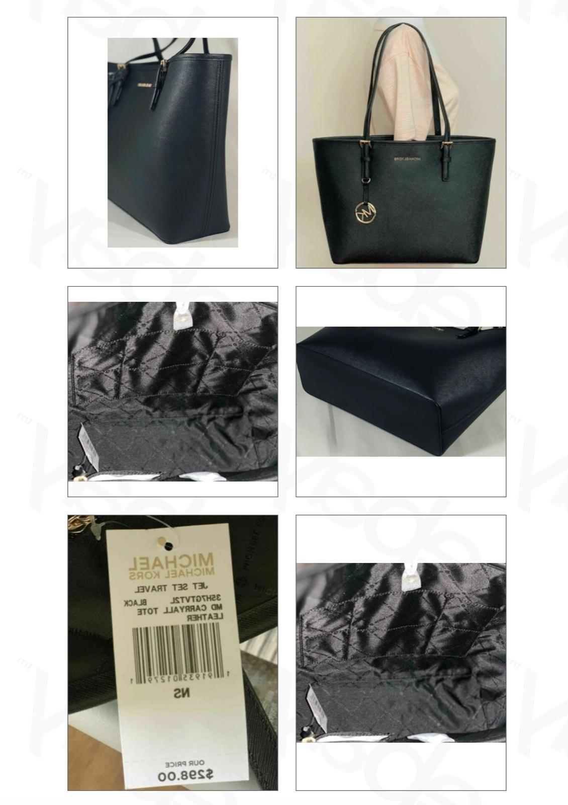 Travel Saffiano Carryall Tote Bag Black