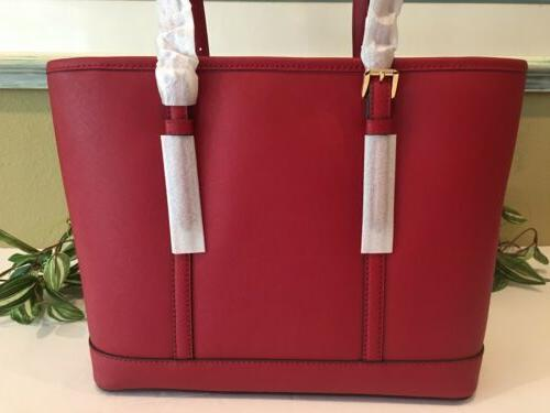 MICHAEL KORS SET TRAVEL TOTE SCARLET RED LEATHER
