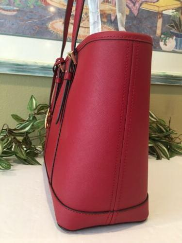 MICHAEL TRAVEL ZIP TOTE BAG SCARLET RED LEATHER $368