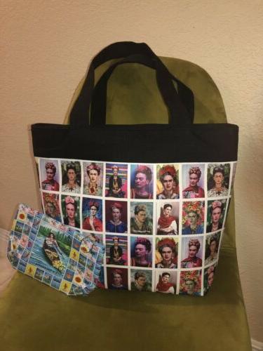 kahlo print tote bag purse with bonus