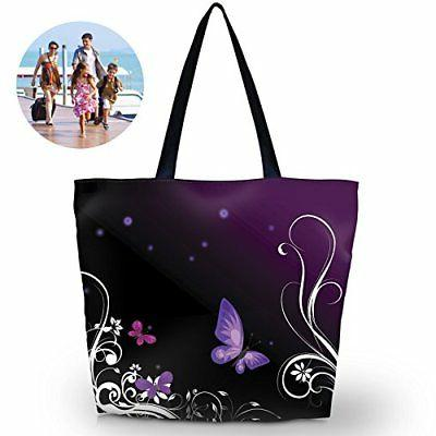 ladies zippered light shoulder shopping tote bag