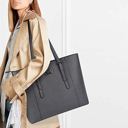 ZYSUN Laptop Leather Multi-Pockets Ease Zipper Work Shoulder Bag