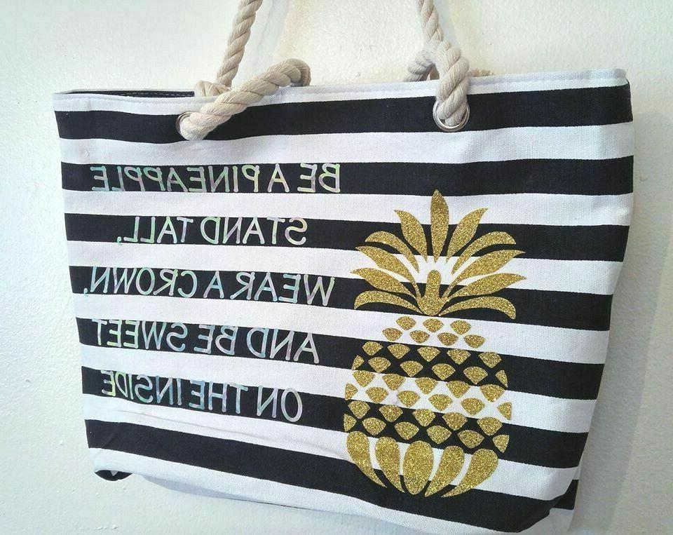 Large Canvas Fashion Bag-Beach White Stripes