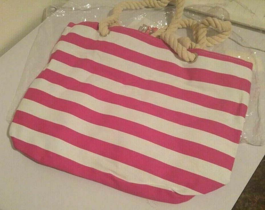 Large Bag-Beach Picnic Gym White Stripes