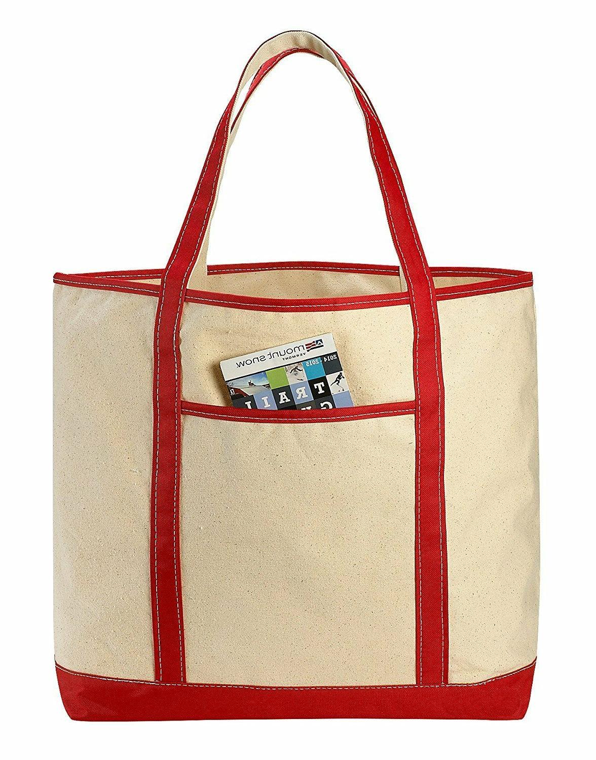 LARGE Canvas Reusable Grocery Shopping Bag Boat Tote Totes B