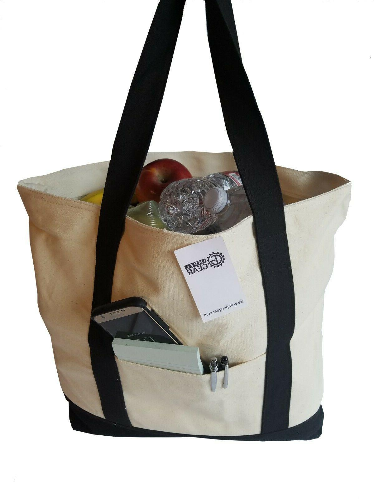 LARGE Zippered Boat Tote Canvas Reusable Grocery Shopping To