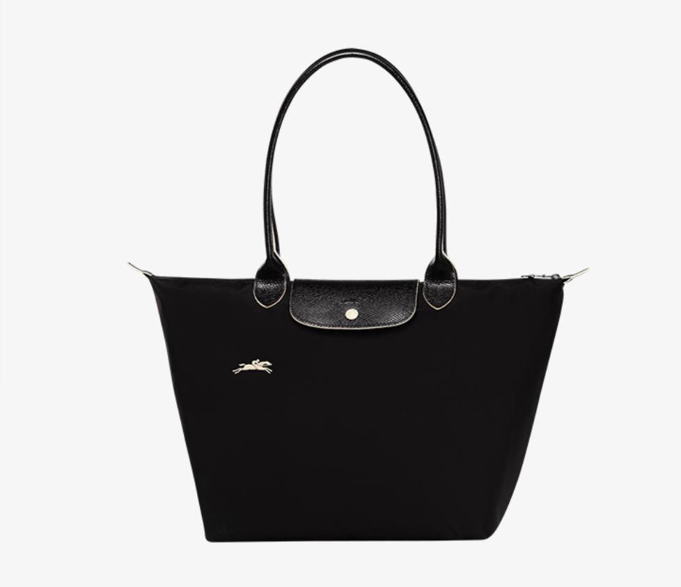 New Black Pliage Nylon Bag Embroidery