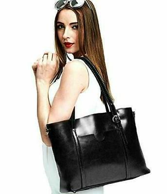 YALUXE Leather Women's Shoulder Style Soft Black