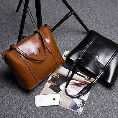 YALUXE Leather Work Women's Shoulder Bag Style Black