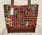 Library Books Purse Tote Bag Handmade Vinyl Bottom Many Pock