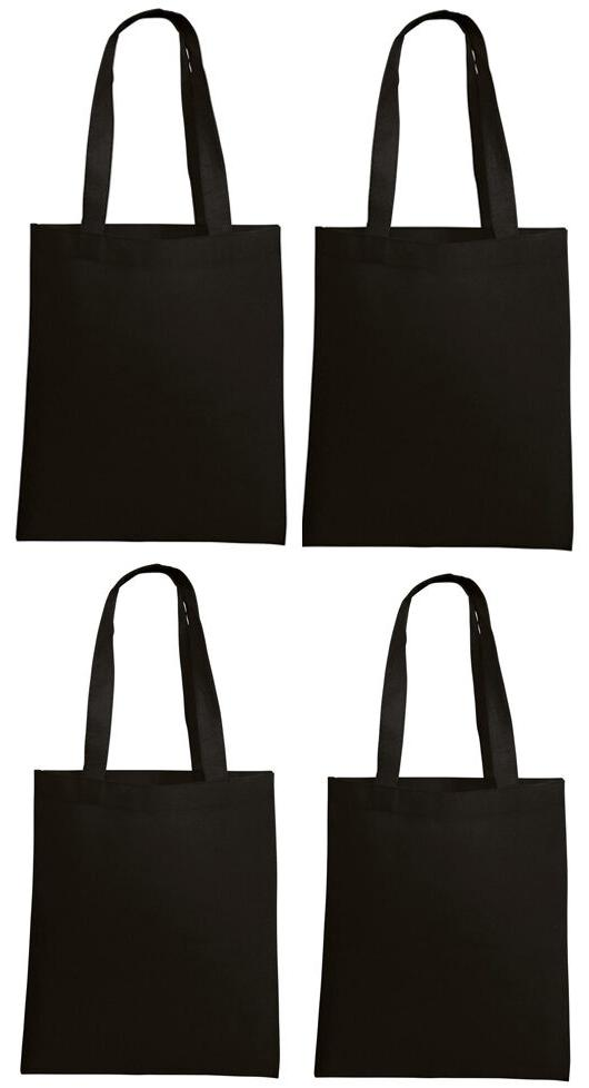 Lot 10 Tote Bag Reusable Black Shopping Grocery Travel Cheap