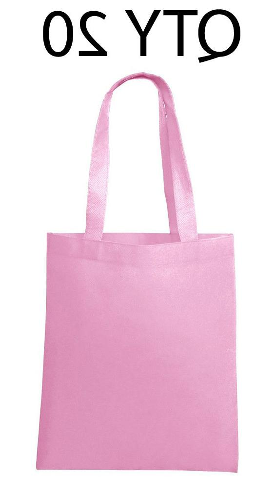 Lot 20 Tote Bag Reusable Pink Shopping Grocery Travel Cheap