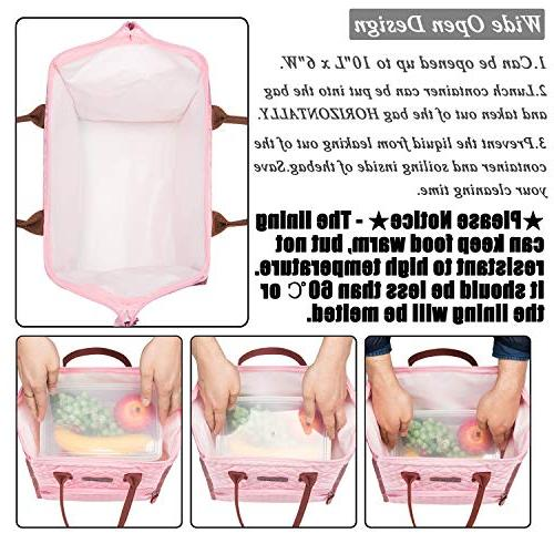 LOKASS Lunch Lunch Tote Box Lunch Cooler Drinks Holder Nylon Snacks Organizer for Women Men Girls Adult School Activity,Rose Gold