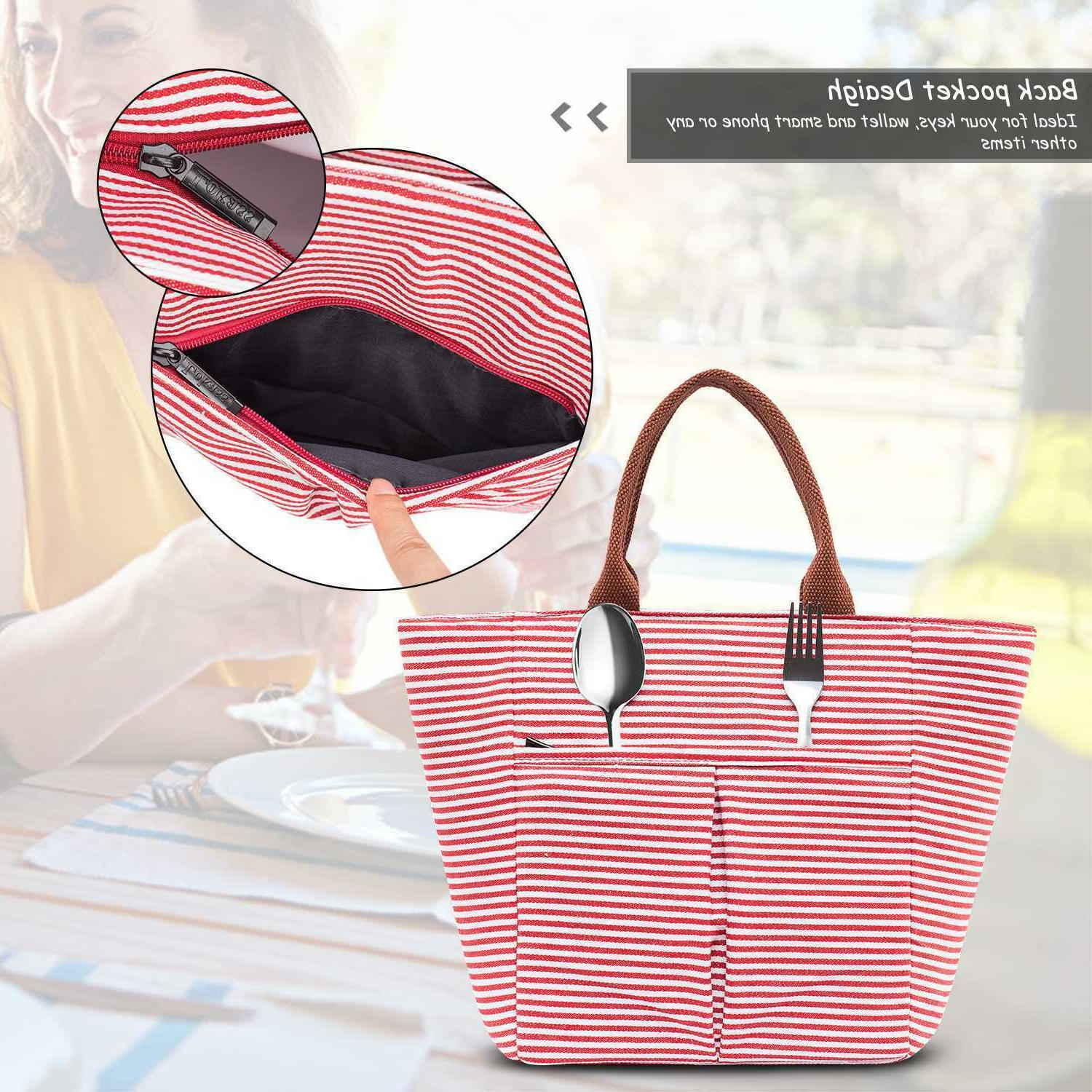 Lunch Tote Insulated Lunch Box Water-resistant Lunch Bag Women