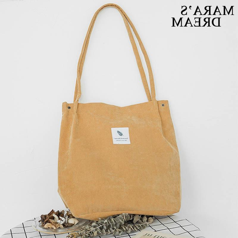Mara's Dream High Women Corduroy Casual <font><b>Bag</b></font> Foldable Reusable Women Shopping Beach <font><b>Bag</b></font>