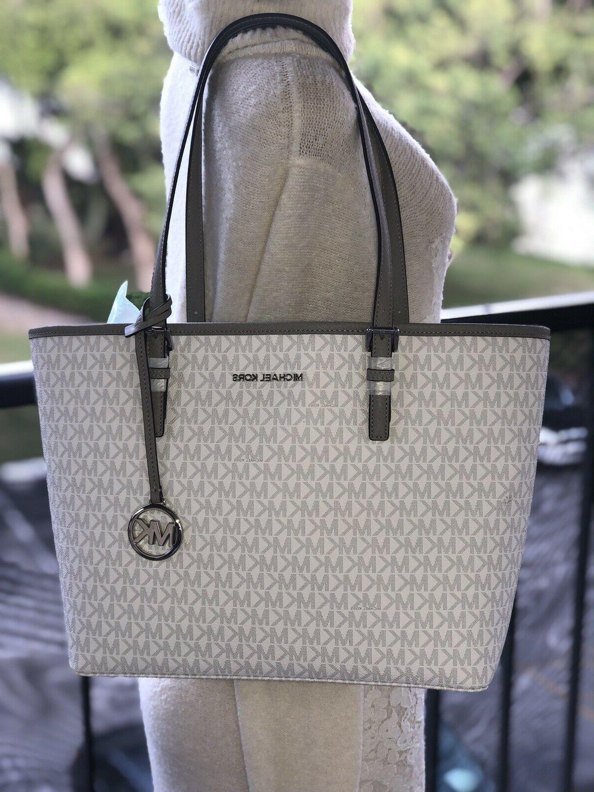 Michael Tote Bag Leather White Silver
