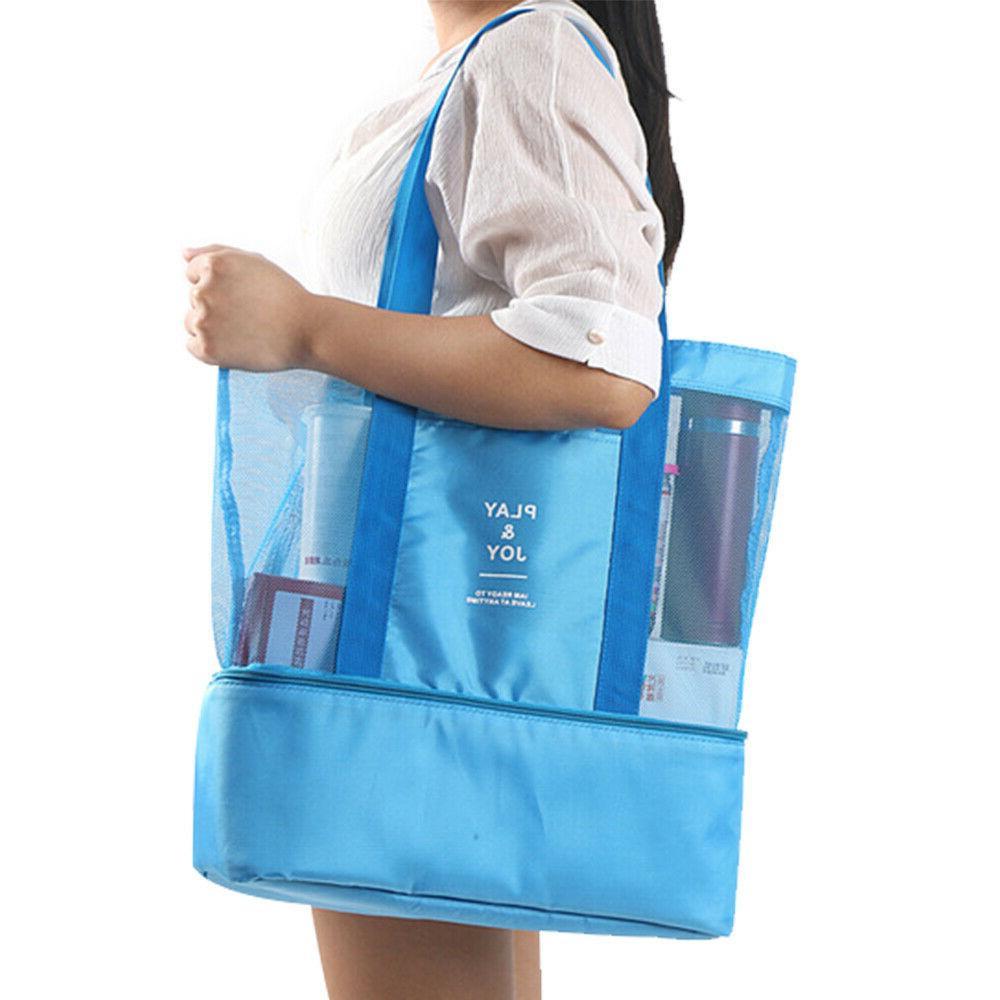 Mesh Beach Bag Picnic Cooler Travel Handbag