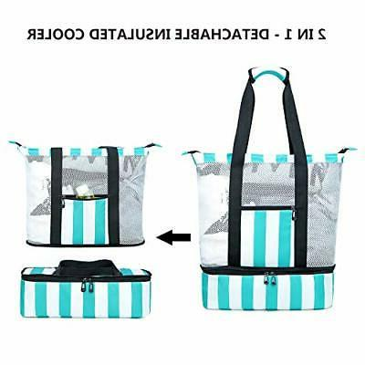 BLUBOON Mesh Beach Bag Compartment, Insulated