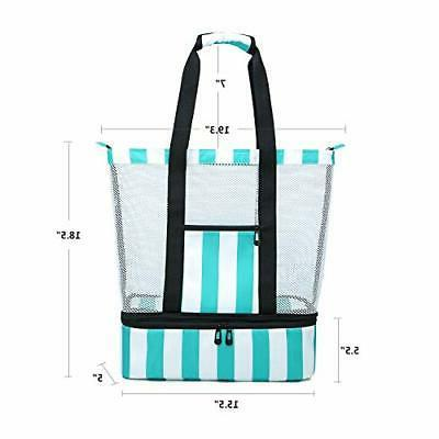 BLUBOON Beach Bag with Compartment, Insulated A Turquoise