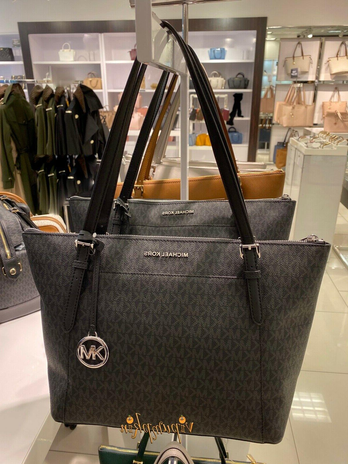 MICHAEL KORS LARGE TOP TOTE MK SIGNATURE BLACK